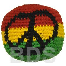 Rasta Stripes Peace Sign Guatemalan Footbag Rasta Hacky Sack New HS24