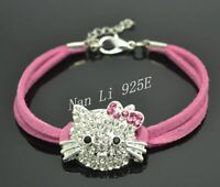 LEATHER CORD ADJUSTABLE HELLO KITTY STYLE BRACELET FOR KIDS - SIZE:14CM-18CM