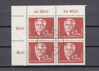 DDR 326 PIECK 1952 ER-4er-Block o.l. RAND FEHLENDES ZAHNLOCH a9423