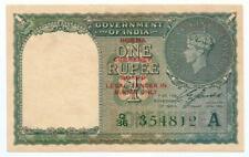 British India Burma O/P Re 1 Note XF Pick #25b Kg VI Prefix Q, A Inset