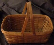 Vintage Woven Wood Picnic Basket - With Handles Intact  GREAT OLD BASKET CLASSIC