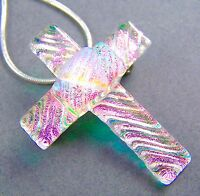 Cross PIN PENDANT Dichroic Fused Glass Pink Green Blue Ripple Texture Layered