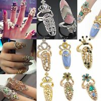 Crystal As Gift Ring Fashion Bow Knot Jewelry Fake Nail Art Finger Rings