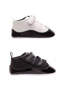White & Black Baby Boys Girls Crib Shoes Infant Toddler Sneakers Trainers 0-18 M