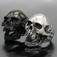 Men/'s Stainless Steel Top Grade Crystal Skull Ring  8 9 10 11 12 13 TK2061
