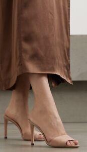 Jimmy Choo Stacey 85 Natural Suede Mule Heel Sandal