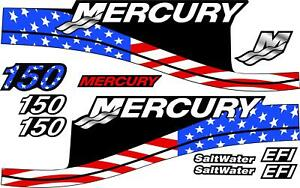 """Replacement Decal Kit for Mercury 150 HP """"American Flag"""" Saltwater Outboard"""