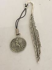 Denarius Of Tiberius Coin WC60 Fine English Pewter On A FEATHER Bookmark