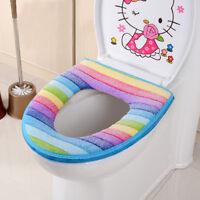 Zipper Rainbow Striped Bathroom Toilet Seat Cover Soft Warmer Mat Pad Cushion