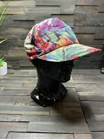 VINTAGE Hawaiian Floral Hat Cap Snapback Colorful Vibrant One Size Fits All 80s