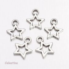 25 Small Silver Plated STARS Charms - Outline Stars Beads - LF