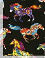 Animal Fabric - Southwest Painted Horse Toss Black - Timeless Treasures YARD
