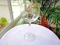 Set of 4 Crystal Clear Tall Balloon Wine Glasses Tropical Palms Etched