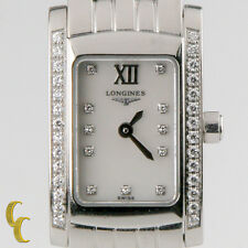 Longines Women's Stainless Steel Dolce Vita Quartz Watch Diamond Dial & Bezel