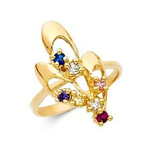 Cocktail Ring Solid 14k Yellow Gold Fashion Band Multi Color Cz Gemstone Fancy