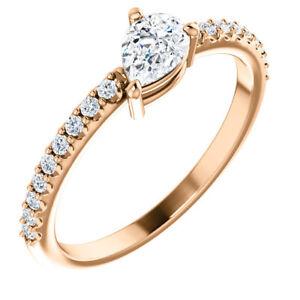 Charles & Colvard Moissanite & 1/6 CTW Diamond Ring In 14K Rose Gold
