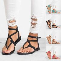 Women Rome Gladiator Sandals Boho Strappy Summer Holiday Beach Flat Casual Shoes