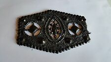 Black Beaded Victorian Mourning Panel