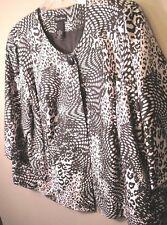 Maggie Barnes 2X 22-24W Jacket lined black Polyester Geometric Pattern + Size