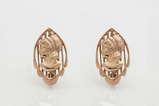 Vintage 1940s Russia 14k Rose Gold LADY CAMEO Leverback Earrings