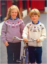 Children's Chunky Yarn Fair Isle Folk Figures Yoke Sweater Knitting Pattern