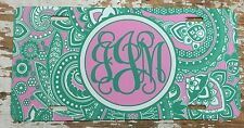 Paisley Personalized Monogrammed License Plate Car Tag Initials Custom Teal Pink