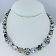 Mariana Necklace Pearl White Gray Mosaic Crystal Rhinestone Wedding