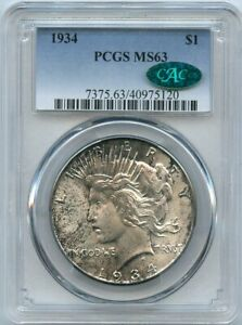 1934 $1 Peace Silver Dollar PCGS/CAC MS 63