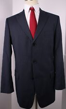 Hugo Boss Blue Striped Wool Three Button Side Vented Suit 44 L 36 33 Flat Pants