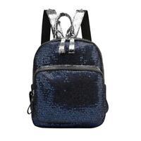 Glitter Sequins Backpack Women Girls Nylon Travel Schoolbags  (Dark Blue) R1BO