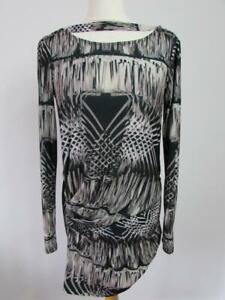 TED BAKER Black Grey Beige Stretch Cowl Back Ruched Pencil Dress Size 1 UK 8 VGC