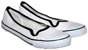 2pr Pack LADIES WHITE SLIP ON CANVAS PUMP WITH TWIN GUSSET TRIM IN SIZES 3-8