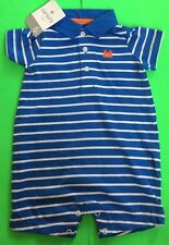 ADORABLE SOFT BABY BOY'S 'CARTER' ROMPER BLUE/WHITE SIZES 6M & 9M AVAIL NWT!