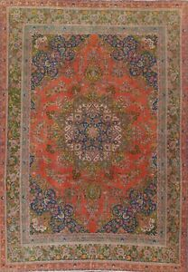Overdyed Semi-Antique Distressed Traditional Oriental Area Rug Hand-knotted 9x12