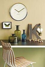 Karlsson Marble Wall Clock - Gold & White Unique Art Modern Home Timepiece