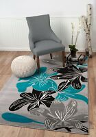 Area Rug ST36 Blue Black Grey Contemporary Floral. Size: 5x7 8x10 2x3 2x7