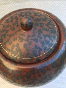 Unusual Vintage Textured storage jar Brown Black  Gold bands lidded Unmarked