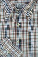 Peter Millar Men's Khaki Blue Check Cotton Luxury Casual Shirt L Large