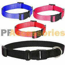 Small Dog / Puppy / Cat / Pet Adjustable Nylon Collar Black Red Blue or Pink
