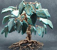 Twisted Metal Tree Copper Wire and Howlite Turquoise Handmade Original