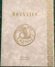 * CATALOGUE MONNAIES <VENTE AUX ENCHERES AU SPORTING DE MONTE-CARLO <30/06/1978