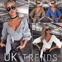 UK Womens Wrap Over Puff Ruched Gathered Ruffle Sleeves Crop Top Ladies Blouse