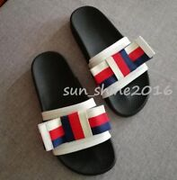 Women's Ladies Pursuit Satin Slide Black Rubber  Sandal stripe strap slippers sz