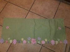 """Pottery Barn Kids """"Green Appliqued Flowers"""" Valance 44 X 18"""