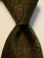 MASSIMO BIZZOCCHI by KITON Mens Silk XL Necktie ITALY Luxury Geometric Green EUC