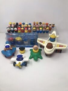 Vintage Fisher Price Little People Lot Planes Helicopters Turtle & 50th Birthday