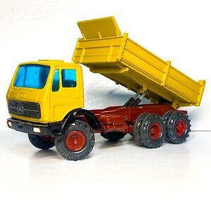 GESCHA 🏆 CONRAD 3040 MERCEDES DUMP Tipper 1:50 Hydraulics Yellow Red