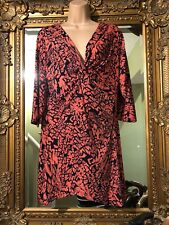 Ladies Anthology Beautiful Black And Coral Twisted Front Tunic Dress Top Size 18