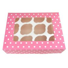 Window Cupcake Muffin Paper Box with Polka Dots, Light Pink, 12-1/2-Inch
