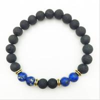 Lava Stone Bracelet for Men.Yoga Chakra Beaded Round Stretch Healing Energy 8mm.